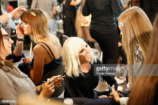 Donatella Versace seen backstage ahead of the Versace show during Milan Fashion Week Spring/Summer 2017 on September 23 2016 in Milan Italy