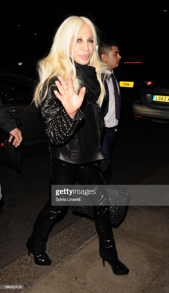 Donatella Versace sighting at Dorchester Hotel on October 30, 2013 in London, England.