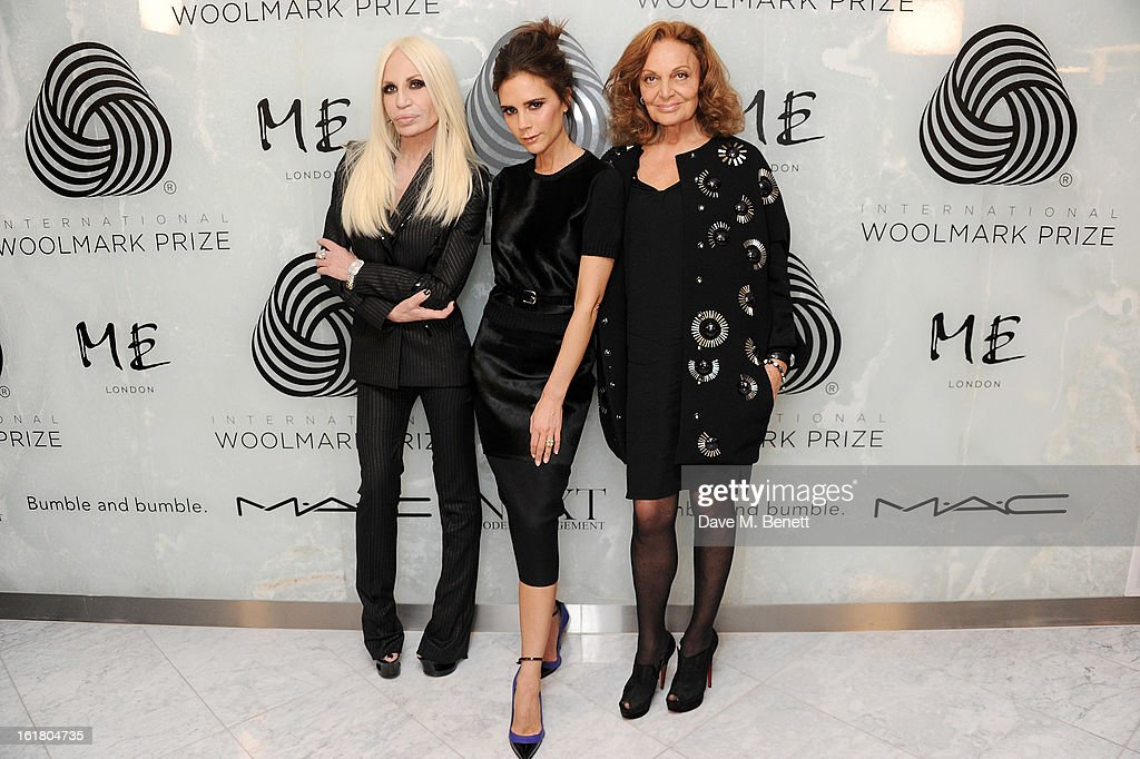 (L to R) Donatella Versace, <a gi-track='captionPersonalityLinkClicked' href=/galleries/search?phrase=Victoria+Beckham&family=editorial&specificpeople=161100 ng-click='$event.stopPropagation()'>Victoria Beckham</a> and Diane von Furstenberg attend the 2013 International Woolmark Prize Final at ME London on February 16, 2013 in London, England.