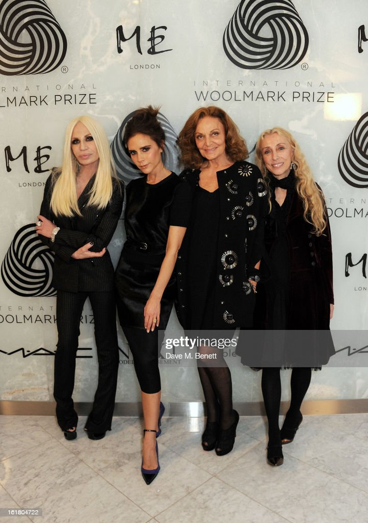 (L to R) Donatella Versace, <a gi-track='captionPersonalityLinkClicked' href=/galleries/search?phrase=Victoria+Beckham&family=editorial&specificpeople=161100 ng-click='$event.stopPropagation()'>Victoria Beckham</a>, Diane von Furstenberg and <a gi-track='captionPersonalityLinkClicked' href=/galleries/search?phrase=Franca+Sozzani&family=editorial&specificpeople=639425 ng-click='$event.stopPropagation()'>Franca Sozzani</a> attend the 2013 International Woolmark Prize Final at ME London on February 16, 2013 in London, England.