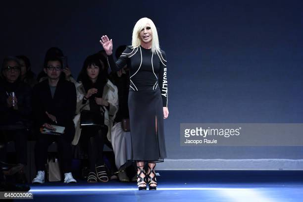 Donatella Versace walks the runway at the Versace show during Milan Fashion Week Fall/Winter 2017/18 on February 24 2017 in Milan Italy