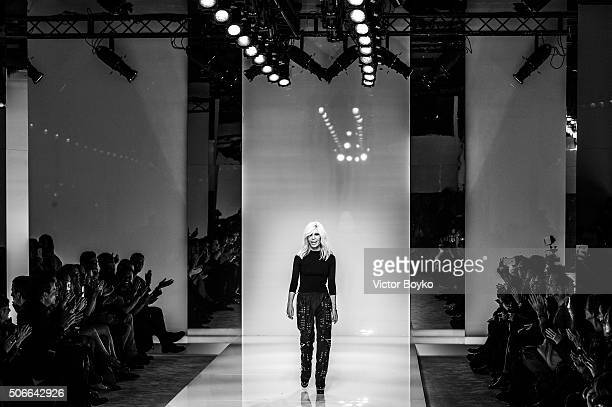 Donatella Versace walks the runway during the Versace Haute Couture Spring Summer 2016 show as part of Paris Fashion Week on January 24 2016 in Paris...