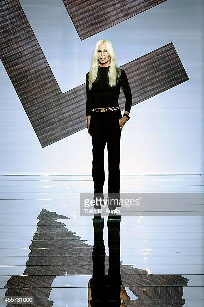 Donatella Versace walks the runway during the Versace show as a part of Milan Fashion Week Womenswear Spring/Summer 2015 on September 19 2014 in...