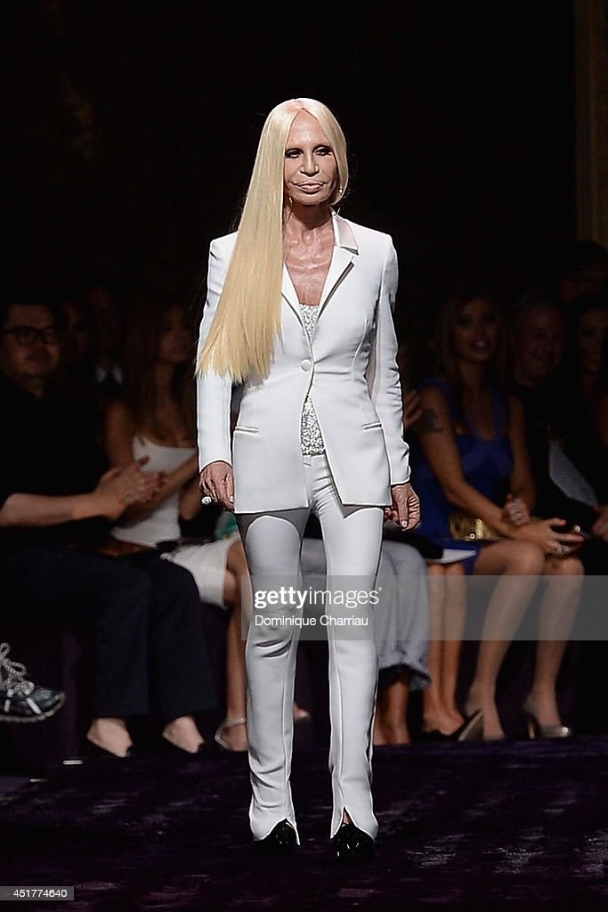<a gi-track='captionPersonalityLinkClicked' href=/galleries/search?phrase=Donatella+Versace&family=editorial&specificpeople=202209 ng-click='$event.stopPropagation()'>Donatella Versace</a> walks the runway during the Versace show as part of Paris Fashion Week - Haute Couture Fall/Winter 2014-2015 on July 6, 2014 in Paris, France.
