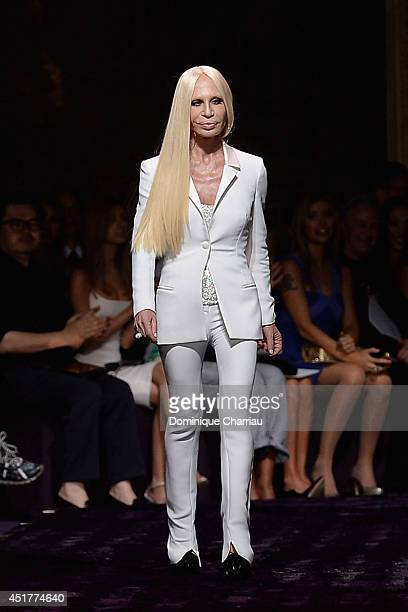Donatella Versace walks the runway during the Versace show as part of Paris Fashion Week Haute Couture Fall/Winter 20142015 on July 6 2014 in Paris...