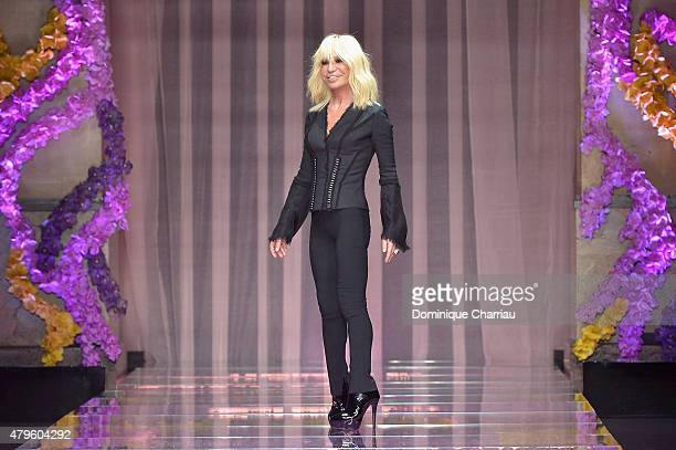 Donatella Versace walks the runway during the Versace show as part of Paris Fashion Week Haute Couture Fall/Winter 2015/2016 on July 5 2015 in Paris...