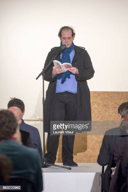 Donatien Grau reads 'Tombeau pour Cinq Cent Mille Soldats' for 50th anniversary of the book at Azzedine Alaia Gallery on October 19 2017 in Paris...
