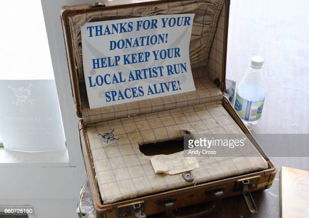 A donation box inside the Pirate Contemporary Art gallery March 24 2017 in Denver Colorado