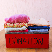 Donation box with clothes.