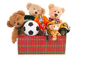 Donation Box with Teddy Bear, Balls and Toys