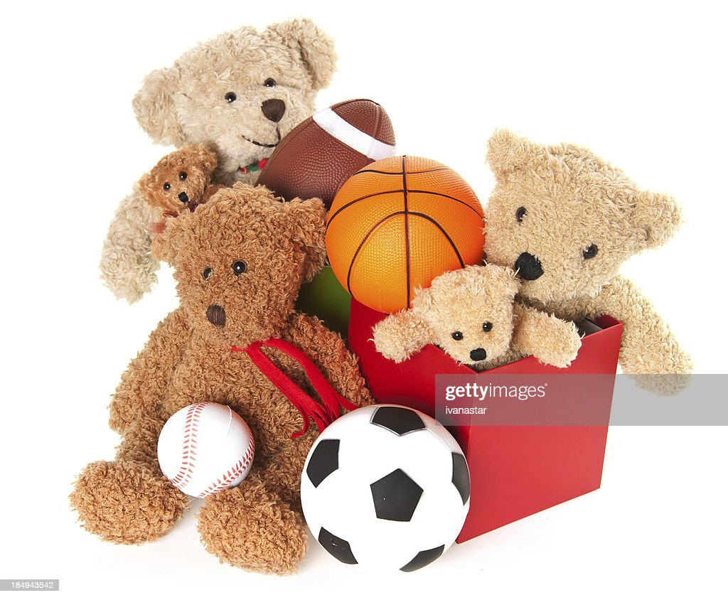 'Donation Box with Teddy Bear, Balls and Toys'