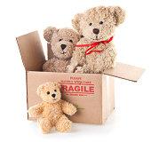Donation Box with Three Teddy Bears
