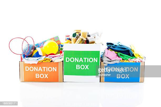 Donation boxes.