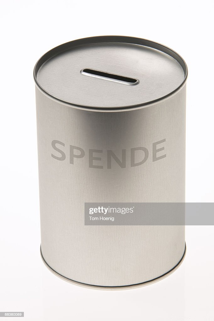 Donation box against white background, close-up