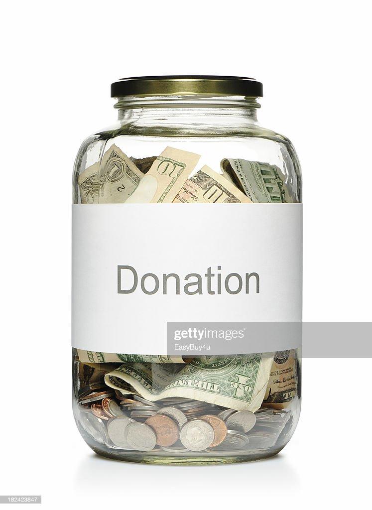 Donation glass jar