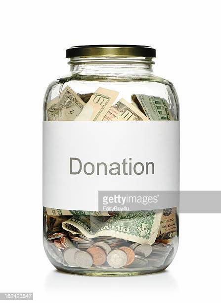 Donation glass jar