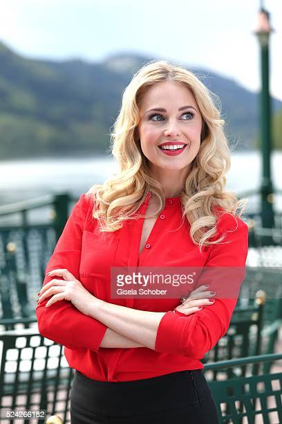 Donau Testimonial Silvia Schneider during the 'Genuss am Fluss' cooking event at Hotel 'Donauschlinge Schloegen' on April 25 2016 in Schloegen near...