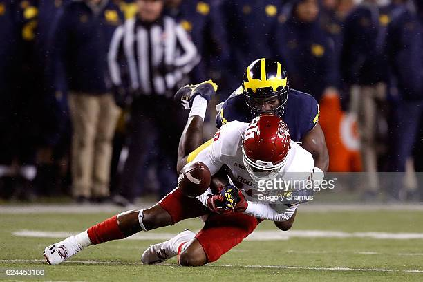 Donavan Hale of the Indiana Hoosiers has a second half pass broken up by Jourdan Lewis of the Michigan Wolverines on November 19 2016 at Michigan...
