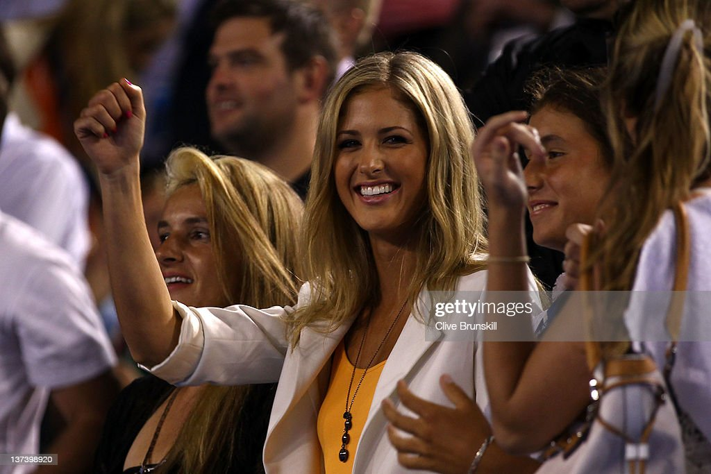 Donay Meijer (C) celebrates with Sara Tomic (R) as Bernard Tomic of Australia won his third round match against Alexandr Dolgopolov of the Ukraine during day five of the 2012 Australian Open at Melbourne Park on January 20, 2012 in Melbourne, Australia.