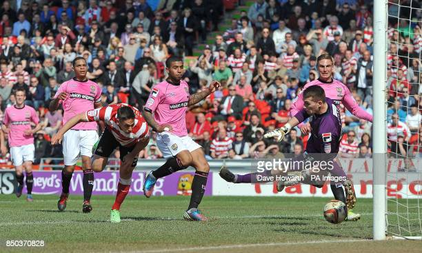 Doncaster Rovers' Dean Furman has a shot on goal but it was disallowed during the npower Football League One match at the Keepmoat Stadium Doncaster