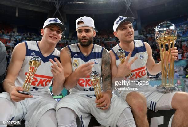 Doncic Taylor and Maciulis of Real Madrid celebrate after winning Copa del Rey's final match between Real Madrid and Valencia BC at Fernando Buesa...