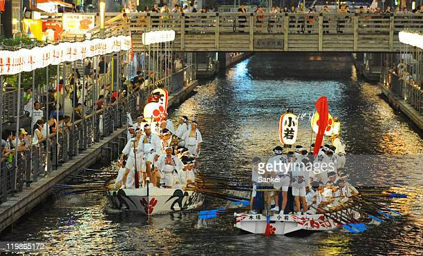 'Dondoko Bune' runs Doronbori River as a part of the tenjin Festival on July 24 2011 in Osaka Japan