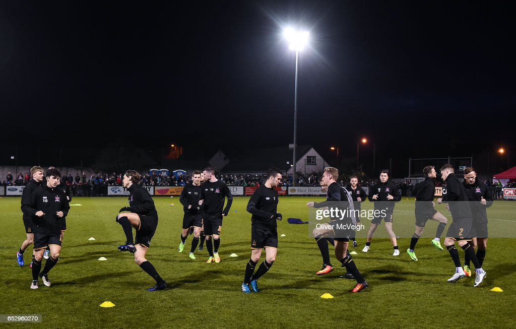 Donegal , Ireland - 13 March 2017; Dundalk players warm up before the SSE Airtricity League Premier Division match between Derry City and Dundalk at Maginn Park in Buncrana, Donegal.