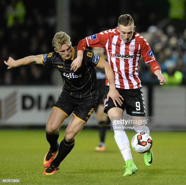Donegal Ireland 13 March 2017 John Mountney of Dundalk in action against Ronan Curtis of Derry City during the SSE Airtricity League Premier Division...