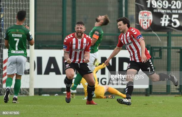 Donegal Ireland 23 June 2017 Barry McNamee right of Derry City celebrates after scoring his side's first goal with teammate Rory Patterson during the...