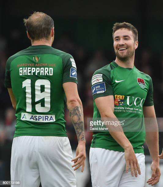 Donegal Ireland 23 June 2017 Gearoid Morrissey right of Cork City celebrates after scoring his side's second goal with teammate Karl Sheppard during...