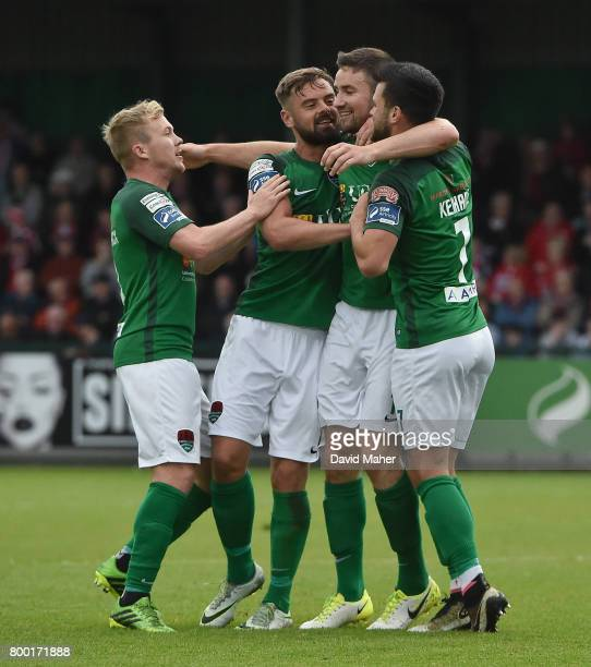 Donegal Ireland 23 June 2017 Gearoid Morrissey second from right of Cork City celebrates after scoring his side's second goal with teammates from...