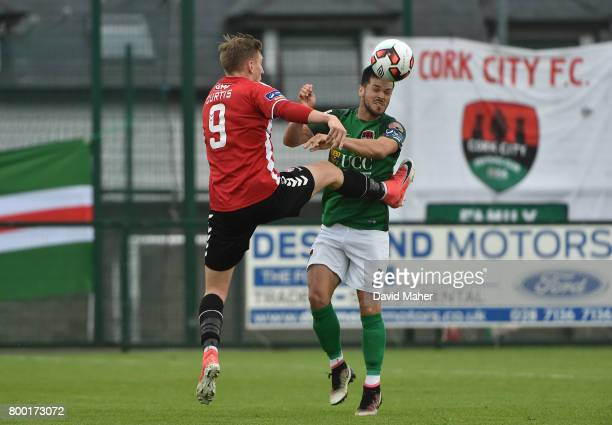 Donegal Ireland 23 June 2017 Jimmy Keohane of Cork City in action against Ronan Curtis of Derry City during the SSE Airtricity League Premier...
