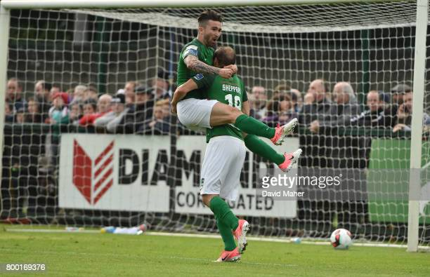 Donegal Ireland 23 June 2017 Karl Sheppard right of Cork City celebrates after scoring his side's first goal with teammate Sean Maguire during the...