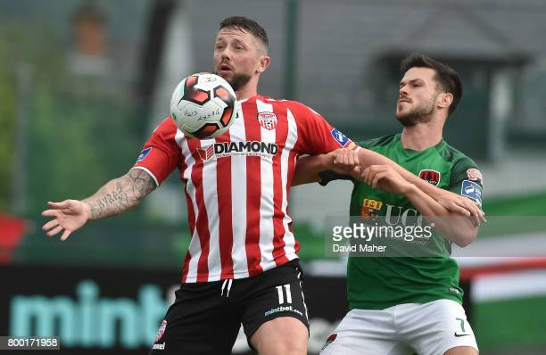 Donegal Ireland 23 June 2017 Rory Patterson of Derry City in action against Jimmy Keohane of Cork City during the SSE Airtricity League Premier...