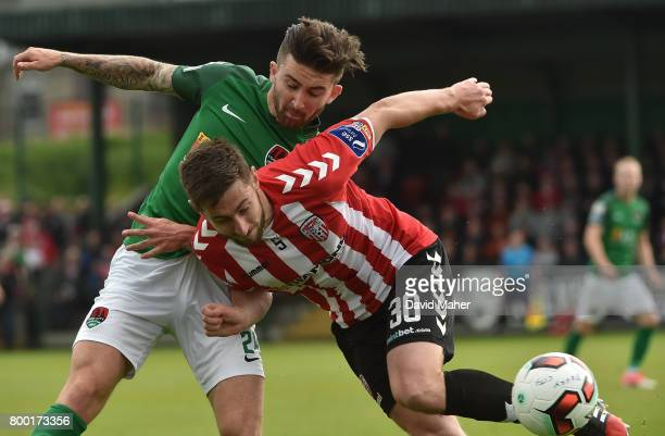 Donegal Ireland 23 June 2017 Sean Maguire of Cork City in action against Aaron Barry of Derry City during the SSE Airtricity League Premier Division...