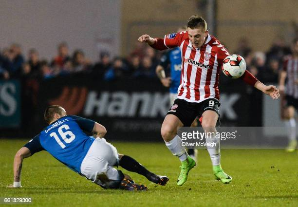 Donegal Ireland 31 March 2017 Ronan Curtis of Derry City in action against Dylan Connolly of Bray Wanderers during the SSE Airtricity League Premier...