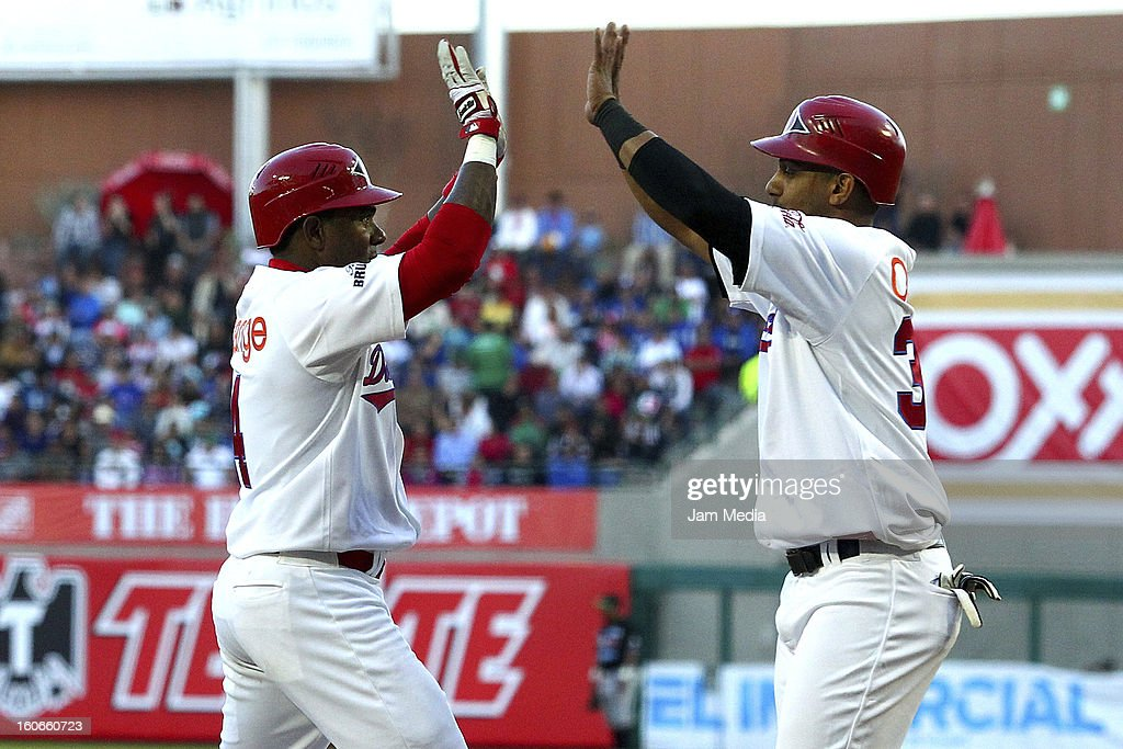 Donell Linares and Ricardo Nanita of Republica Dominicana celebrates during the Caribbean Series Baseball 2013 in Sonora Stadium on February 2, 2013 in Hermosillo, Mexico.