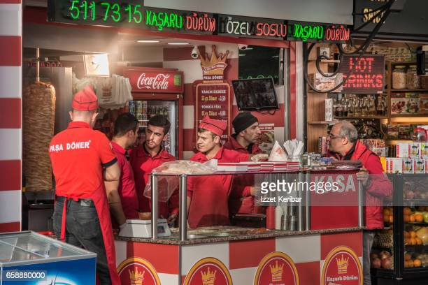 Doner Kebap (Gyros) shop near at Beyazit  Istanbul Turkey
