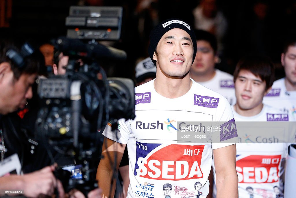 Dong Hyun Kim enters the arena before his welterweight fight against Siyar Bahadurzada during the UFC on FUEL TV event at Saitama Super Arena on March 3, 2013 in Saitama, Japan.