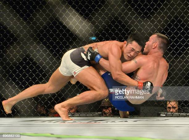Dong Hyun Kim of South Korea competes against Colby Covington of the United States during their UFC welterweight event at the UFC Fight Night in...