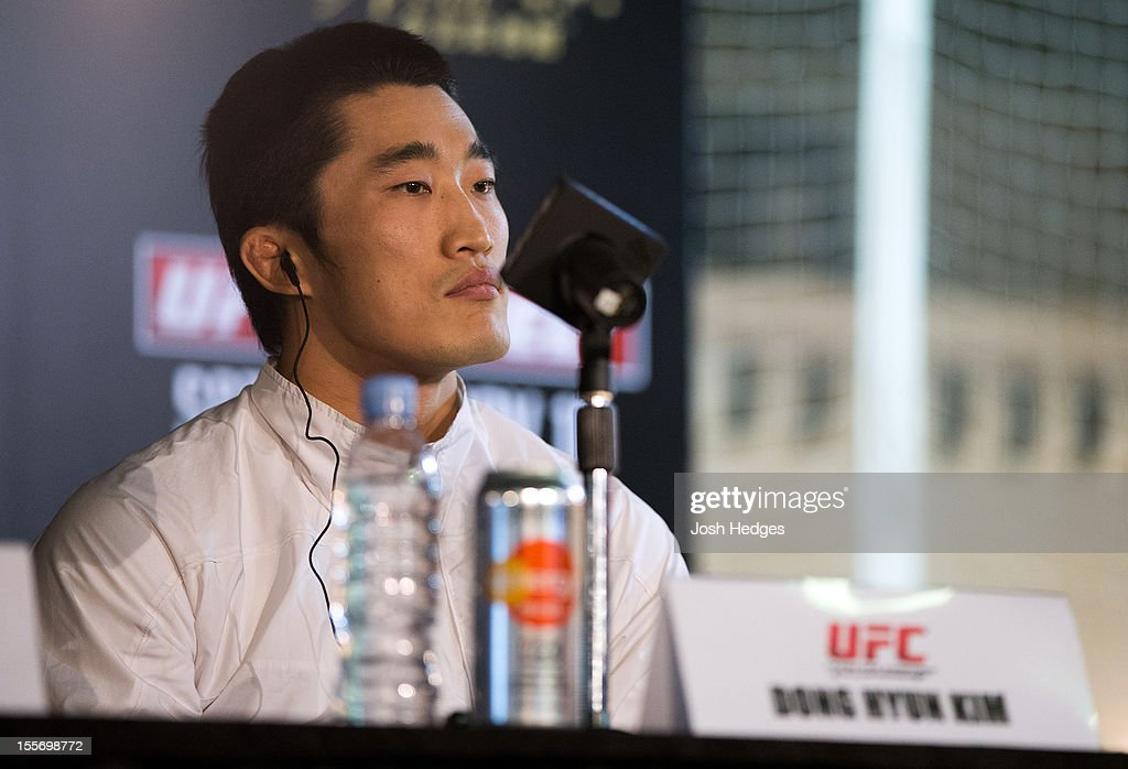 Dong Hyun Kim speaks during a UFC press conference at Harbour City Mall on November 7, 2012 in Hong Kong, Hong Kong.