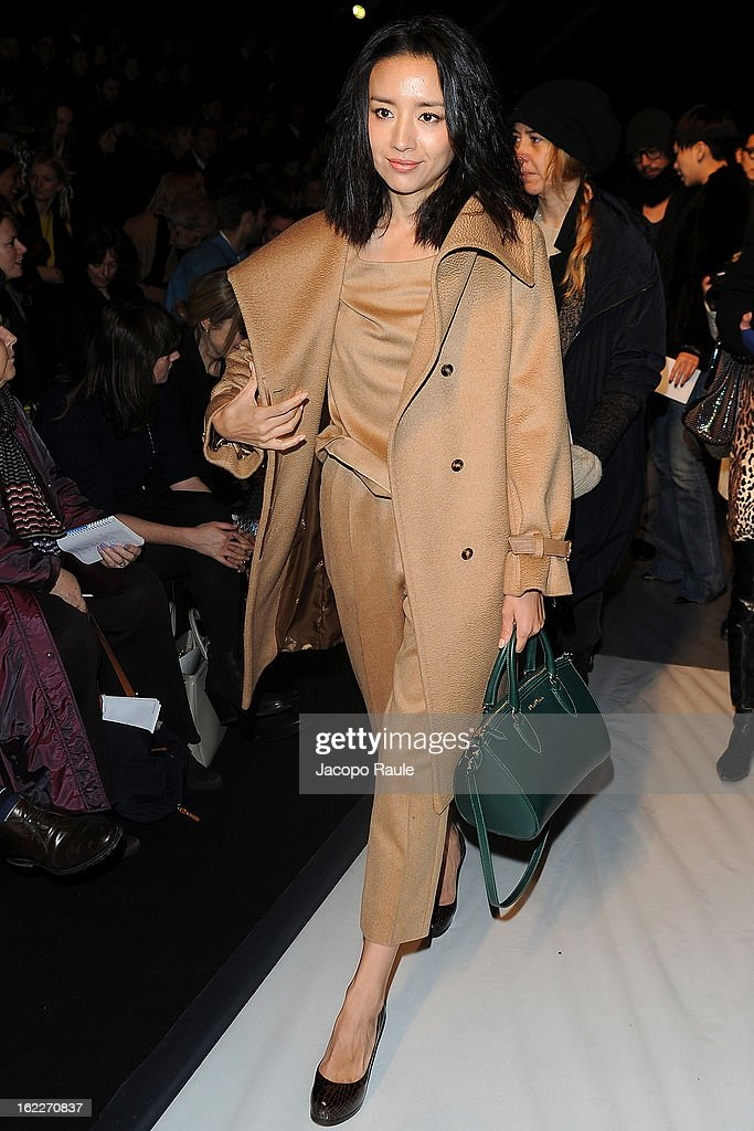 Dong Jie attends the Max Mara fashion show during Milan Fashion Week Womenswear Fall/Winter 2013/14 on February 21, 2013 in Milan, Italy.