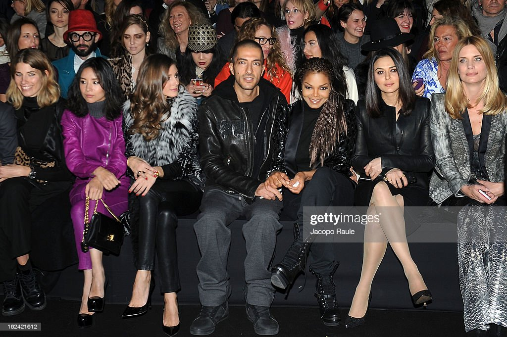 Dong Jie, Olivia Palermo, Wissam al Mana, Janet Jackson, Preity Zinta, Filippa Lagerback, and guest attend the Roberto Cavalli fashion show as part of Milan Fashion Week Womenswear Fall/Winter 2013/14 on February 23, 2013 in Milan, Italy.