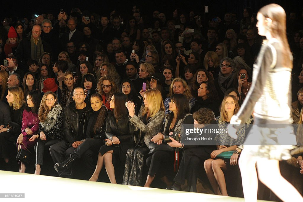 Dong Jie, Olivia Palermo, Wissam al Mana, Janet Jackson, Preity Zinta Filippa Lagerback, Maria Grazia Cucinotta and guests attend the Roberto Cavalli fashion show as part of Milan Fashion Week Womenswear Fall/Winter 2013/14 on February 23, 2013 in Milan, Italy.