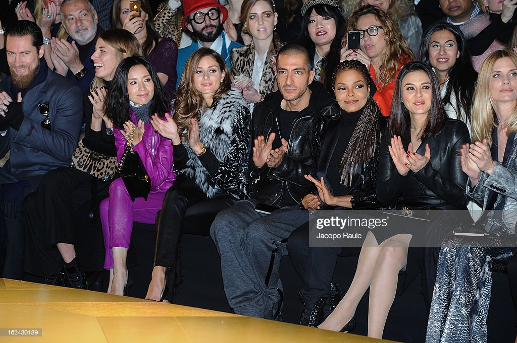 Dong Jie, Olivia Palermo, Wissam al Mana, Janet Jackson, Preity Zinta, Filippa Lagerback and guests attend the Roberto Cavalli fashion show as part of Milan Fashion Week Womenswear Fall/Winter 2013/14 on February 23, 2013 in Milan, Italy.