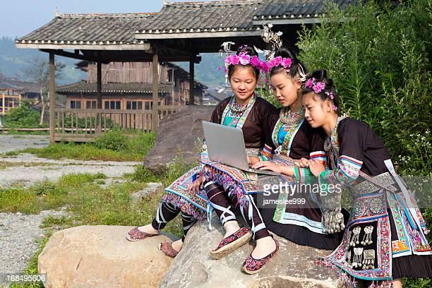 Dong Tribe Girls Using Laptop