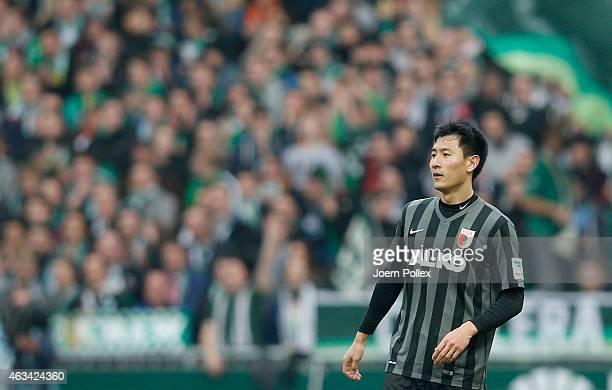 Dong Won Ji of Augsburg is seen during the Bundesliga match between SV Werder Bremen and FC Augsburg at Weserstadion on February 14 2015 in Bremen...