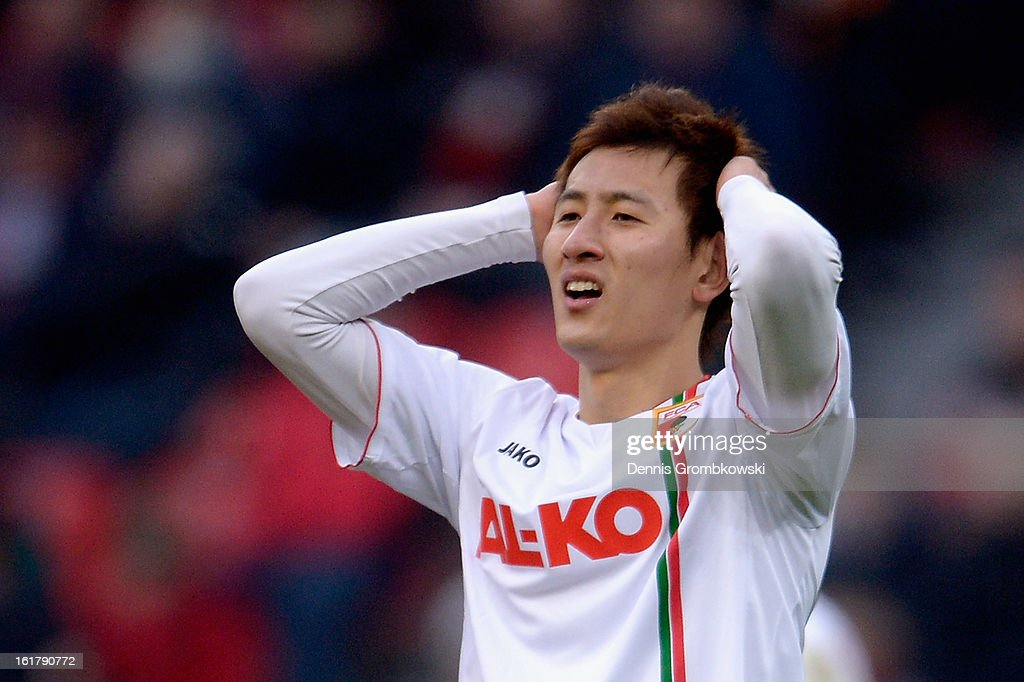 Dong Won Ji of Augsburg reacts during the Bundesliga match between Bayer 04 Leverkusen and FC Augsburg at BayArena on February 16, 2013 in Leverkusen, Germany.