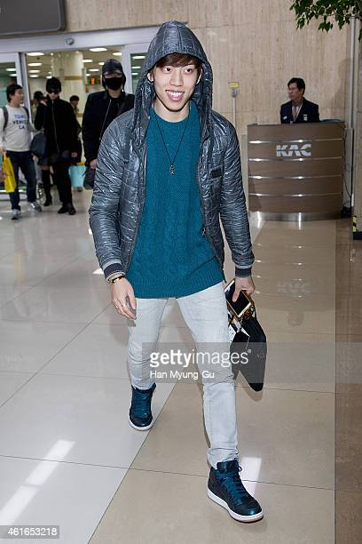 Dong Woo of South Korean boy band Infinite is seen upon arrival at Gimpo International Airport on January 16 2015 in Seoul South Korea