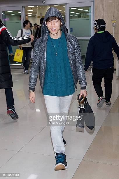 KOREA JANUARY Dong Woo of South Korean boy band Infinite is seen upon arrival at Gimpo International Airport on January 16 2015 in Seoul South Korea